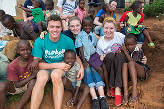 Liberty University students on a service trip to Rwanda.