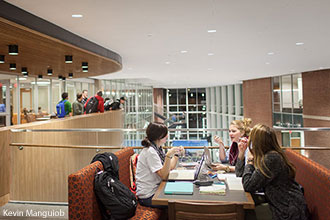 Liberty students hang out and study in the new Jerry Falwell Library.