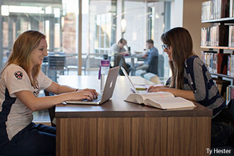 Liberty University students study in the new Jerry Falwell Library.