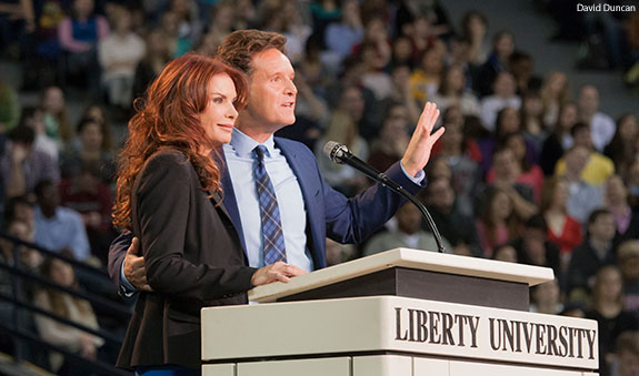 Roma Downey and Mark Burnett speak at Liberty University Convocation.