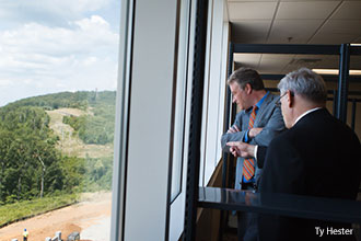 Congressman Robert Hurt looks out a window in Liberty Center for Medical and Health Sciences.