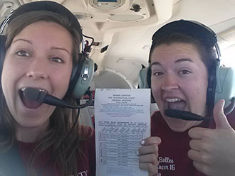 Alicia Isacson and Melody Dowlearn in their Piper Arrow 28 en route to California.