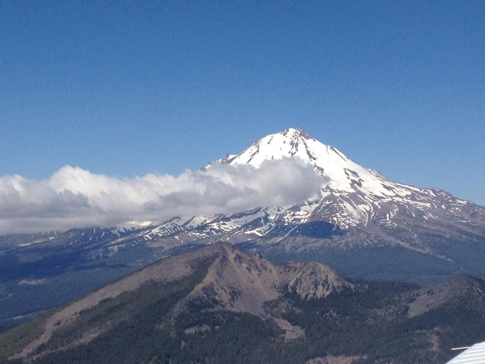 Mount Shasta, a 14,000-feet peak in California, stands out on the first day of the Air Race Classic.