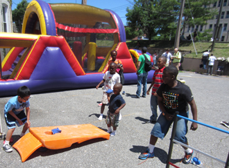 Children play during the Crossover outreach event.