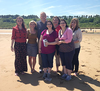 A Liberty University group on Omaha Beach.