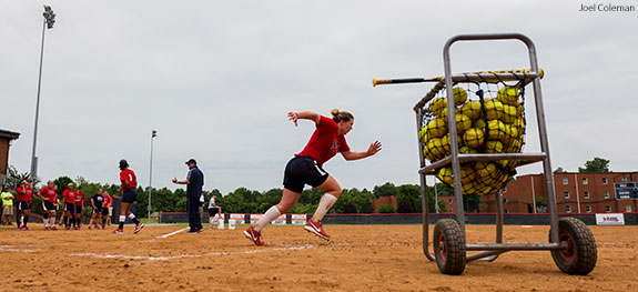 USA National Team practices softball drills on Liberty University's old field.