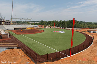 The new Liberty Softball Stadium under construction in the athletics complex.