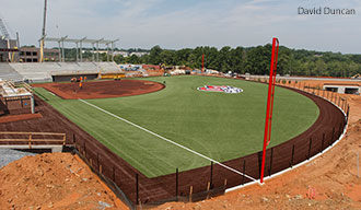 Construction takes place on Liberty University's new softball stadium.