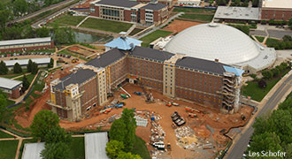 Construction takes place on Liberty University's first high-rise residence hall.