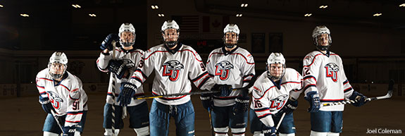 Liberty Flames hockey players