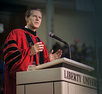 Liberty University President Jerry Falwell speaks at Baccalaureate.