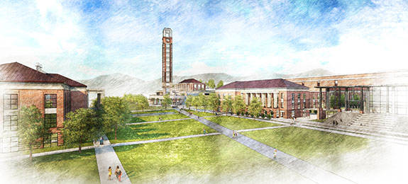 An artist's rendering of Liberty University's planned 252-foot tower and expansion to its main academic building.