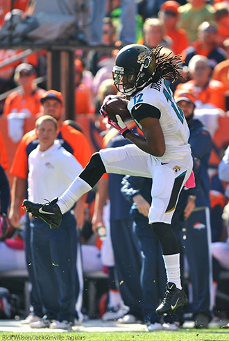 Mike Brown makes a catch for the Jacksonville Jaguars.