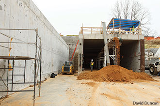 Construction crews at Liberty Univeristy working on the vehicular tunnel.