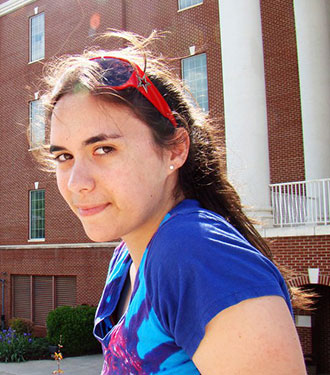 Dani Echeverria on Liberty's campus before she graduated.