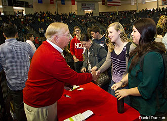 Dr. Kevin Leman greets Liberty University students after Monday's Convocation.