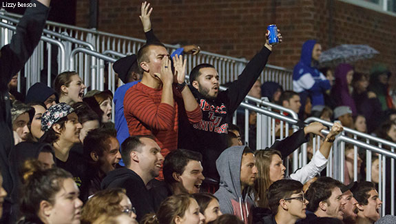 Liberty lacrosse fans cheer the Flames on during Saturday morning Blackout.