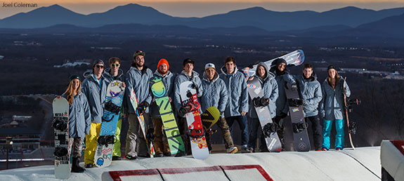 Liberty's ski and snowboard team pose atop the Liberty Mountain Snowflex Centre.