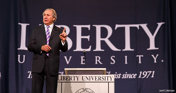 Mike Reagan speaks to students during Liberty University Convocation.