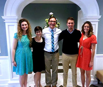Team of Liberty University biology students with Dr. Andrew Fabich