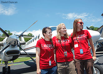 Liberty University School of Aeronautics students volunteer at 2014 Women Can Fly.