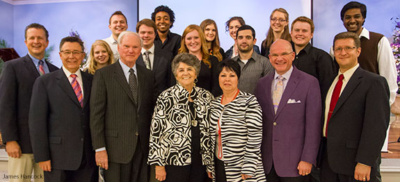 School of Music staff members with honorees of $2 million scholarship donation.