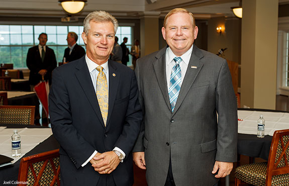 Virginia Secretary of Transportation Aubrey Layne stands with Liberty University Vice President of Outreach & Strategic Partnerships Dr. Barry Moore