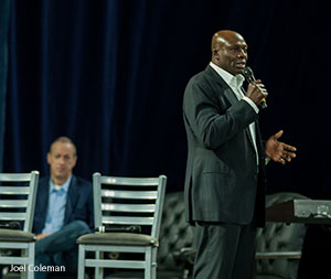NFL Hall of Famer Bruce Smith speaks at Liberty University Convocation.