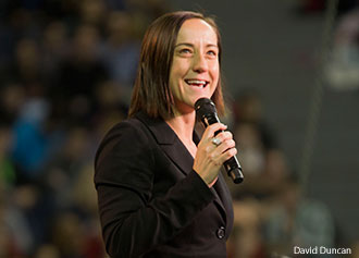 Christine Caine speaks at Liberty University.