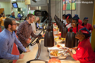 Liberty University's Reber-Thomas Dining Hall bustles with activity.
