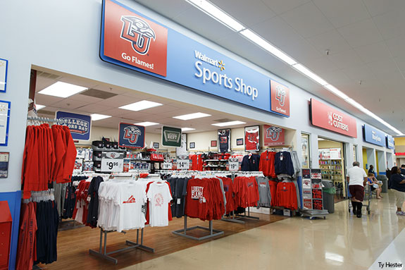 c4526bc6 Liberty University Athletics apparel is on display at the Wards Road  Walmart.