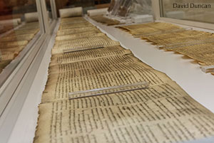 Artifacts in the Liberty Biblical Museum include a copy of the Dead Sea Scrolls.