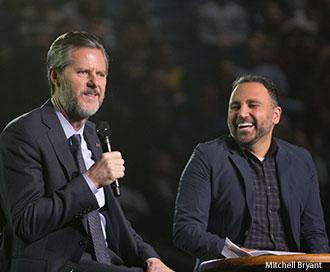 Liberty University President Jerry Falwell and Senior Vice President for Spiritual Development David Nasser.