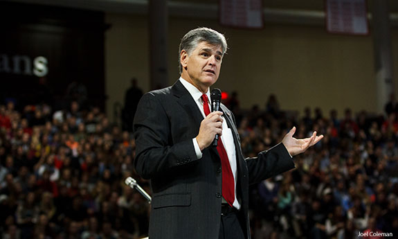 FOX News personality Sean Hannity speaks during Liberty University Convocation.