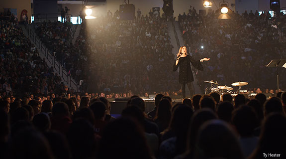 Christine Caine speaks to Liberty University students.
