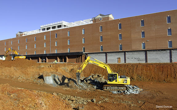 Work begins on an addition to Liberty University's DeMoss Hall.