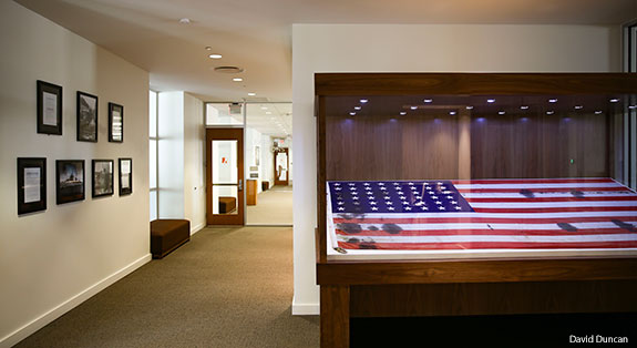A new display in the Jerry Falwell Library features an American flag recovered after the attack on Pearl Harbor.