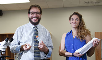 Dr. Andrew Fabich and graduate assistant Abigail Lenz in the Liberty University Science Hall.