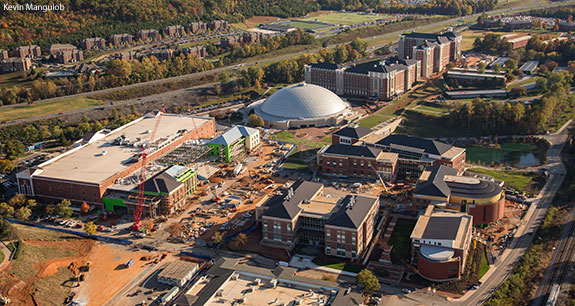Liberty University's new four-story, 150,000-square-foot student center is beginning to take shape in the heart of campus.
