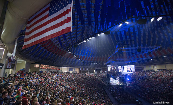 Liberty University's Vines Center is packed on Nov. 6, 2015 for CFAW and Military Emphasis Week.