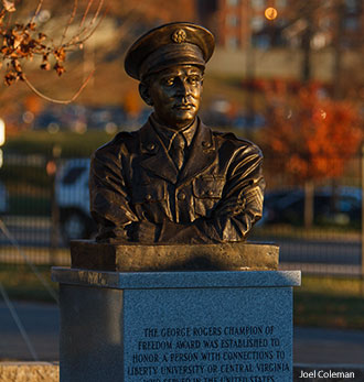 A statue of former WWII POW George Rogers at Liberty University.