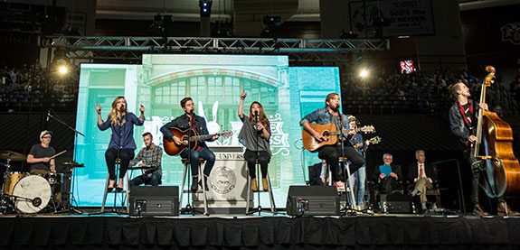 Liberty University's Worship Collective performs a medley of popular songs.