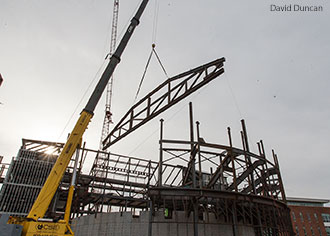 A truss is lifted into place at the Center for Music and the Worship Arts auditorium in March 2015.