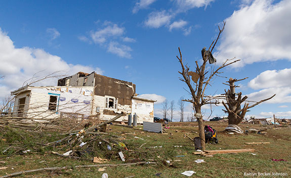 Devastation from a tornado strike in Appomattox, Va.
