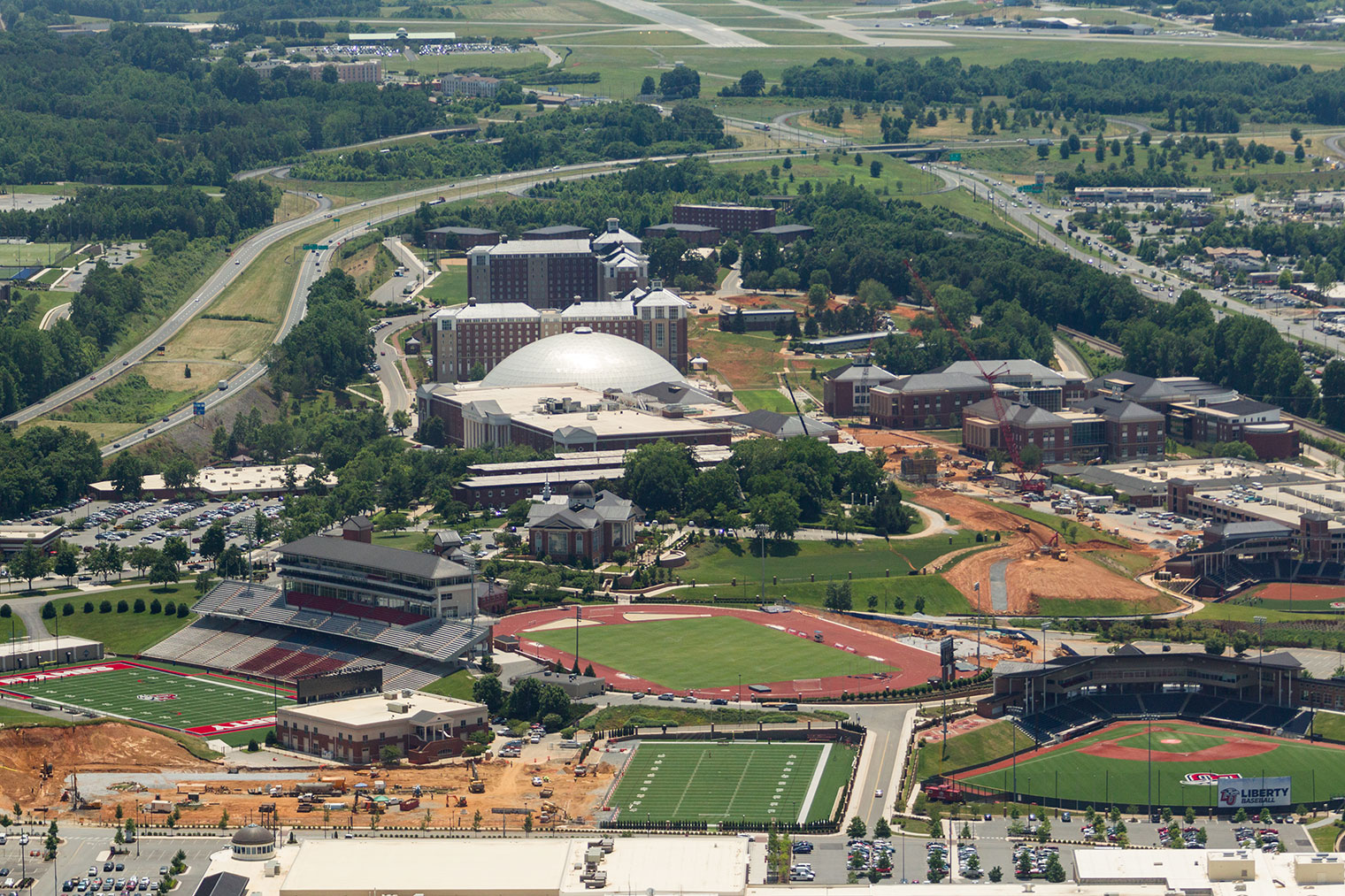 An aerial view of Liberty University's campus, taken June 16, 2016. (Photo by Kaitlyn Becker Johnson)