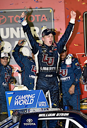 William Byron celebrates his first national series race win.