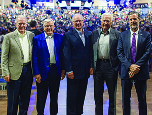 Members of the Rawlings family were recognized on Nov. 4, 2015, for their $5 million donation to the university. From left: Harold Rawlings, Herb Rawlings, Carrol Rawlings, George Rawlings, and Liberty President Jerry Falwell.