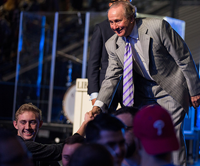 Michael Reagan greets Liberty University students after speaking in Convocation.