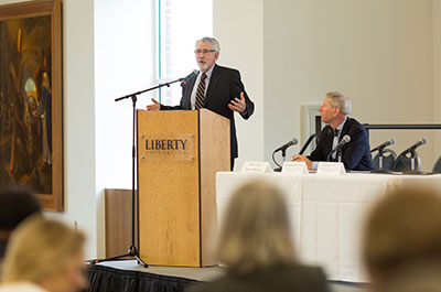 Liberty's Provost Ron Hawkins addressed leaders during the 2016 Virginia Education Summit held in the Montview Alumni Ballroom. (Photo by Leah Seavers)