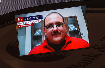 Undecided voter Ken Bone shared a video message with Liberty students during Convocation.